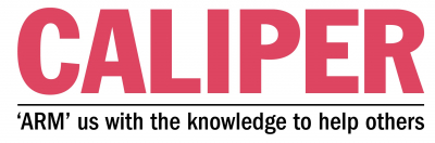 CALIPER logo with our slogan: 'ARM' us with the knowledge to help others