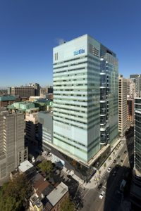 An aerial view of the 21-storey SickKids Research Tower in Downtown Toronto