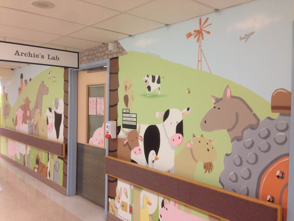 Image of barn animals in front of Archie's Cochlear Implant Lab at SickKids