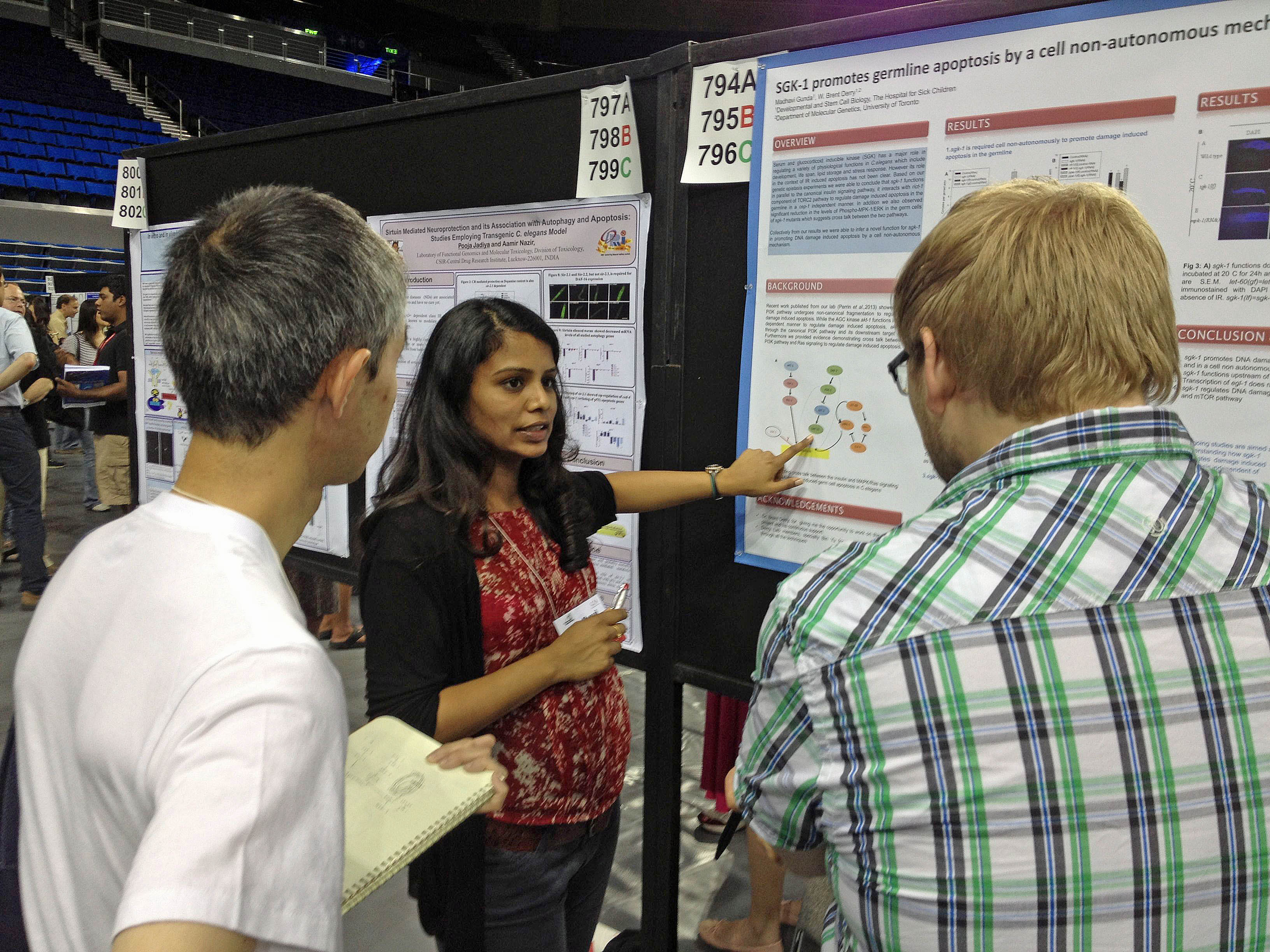 Madhavi presenting her poster at the Worm Meeting