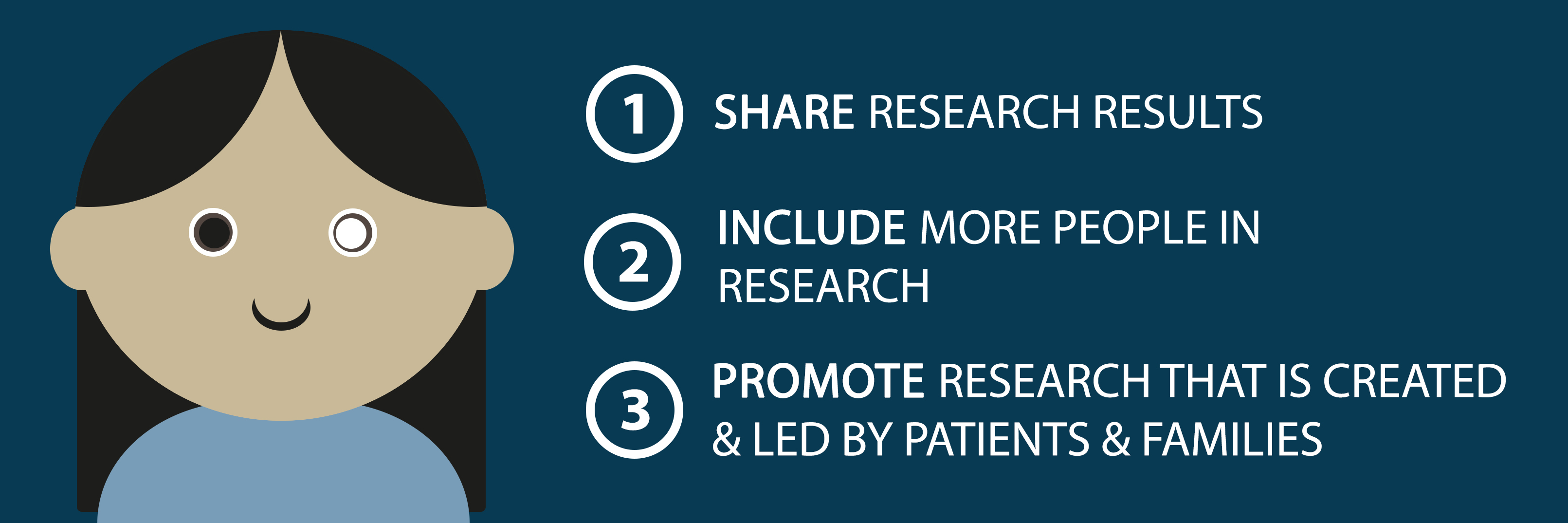 1) Share research results, 2) Include more people in research, and 3) Promote research that is created and led by patients and families