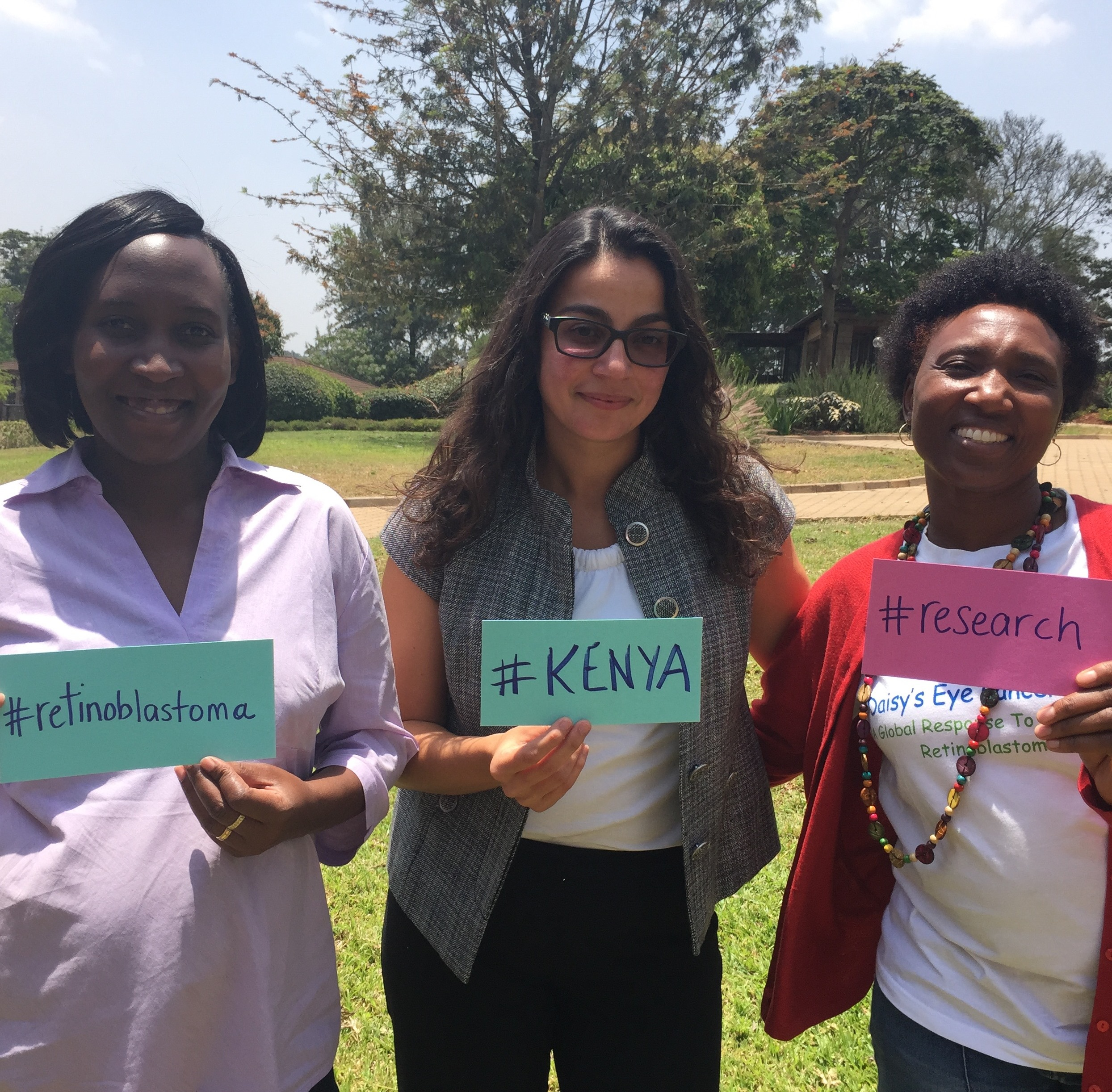 SickKids Instagram Photo with Dr. Helen Dimaras (middle), Dr. Lucy Njambi (left) and Dr. Kahaki Kimani (right)