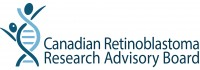 Logo for the Canadian Retinoblastoma Research Advisory Board where DNA strand makes two people, one with unilateral retinoblastoma.