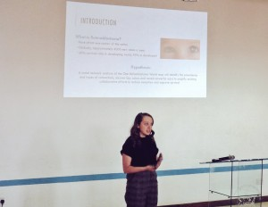 Hannah Girdler presents her research at the University of Nairobi Science and Innovation Conference.