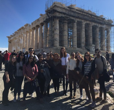 The team in front of the ancient Parthenon in Athens.