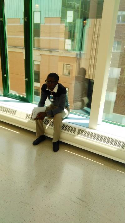Joshua in the halls of SickKids.