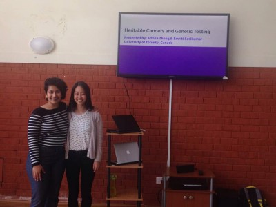 Smrti and Adrina give a presentation at Faraja Cancer Support Trust.