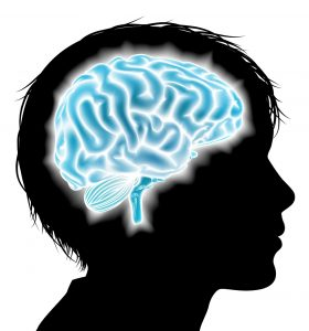 Logo for the QBIct Study - Child with glowing blue brain