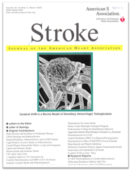 Stroke Journal cover - work published in 2003