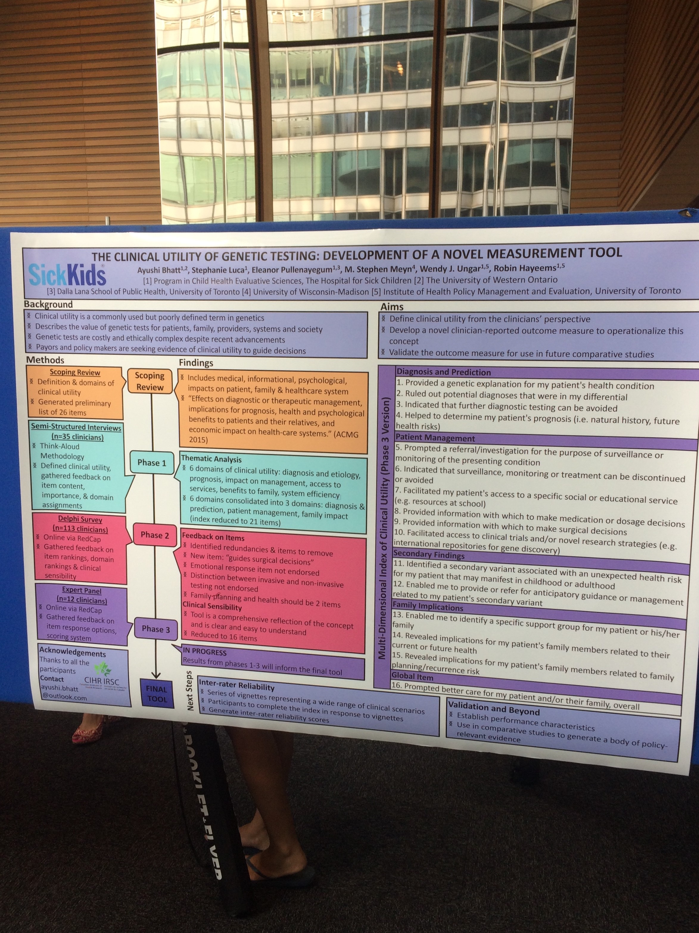 Ayushi Bhatt's poster at the SickKids Summer Student Symposium - August 2018