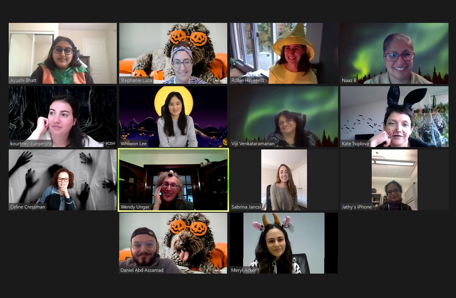 The lab celebrating Halloween 2020 via Zoom