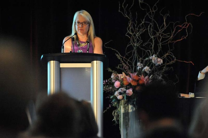 Photo of Dr. Stinson chairing the Canadian Pain Society (CPS) meeting in Winnipeg, May 2013