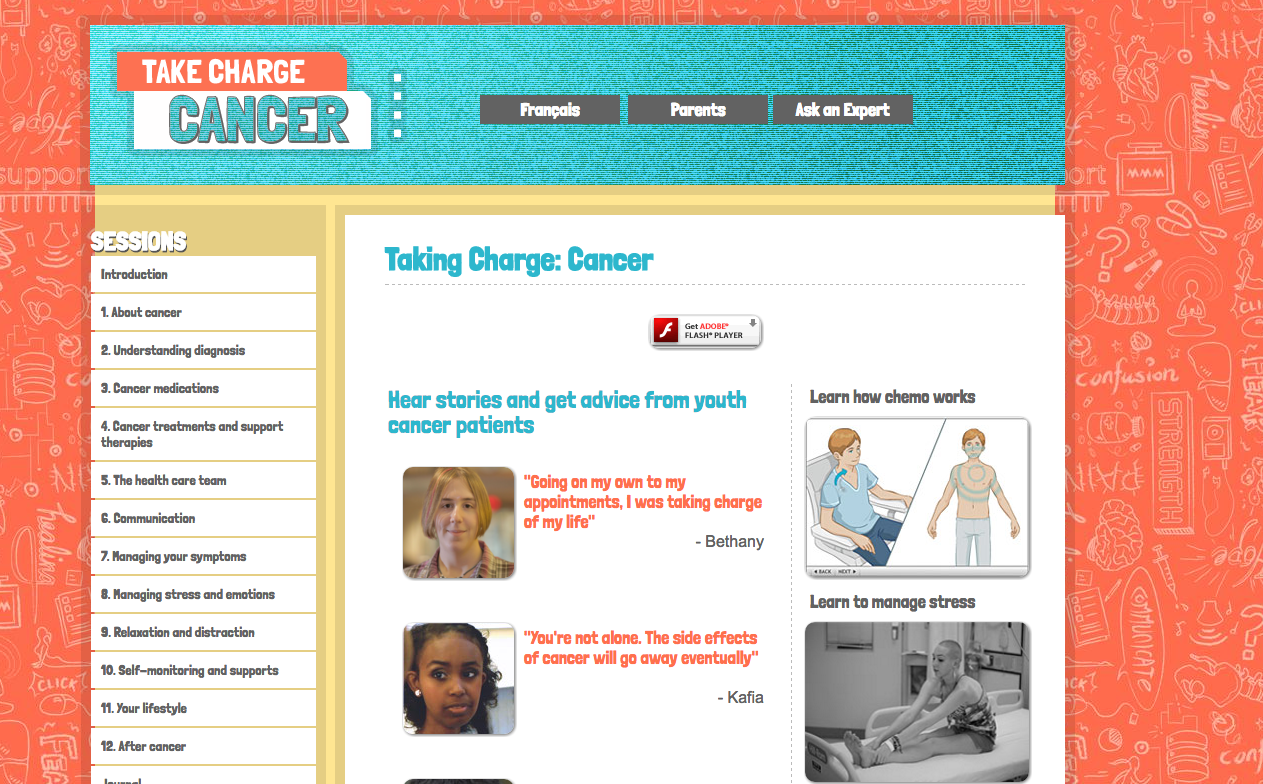Photo of Teens Taking Charge Cancer landing page