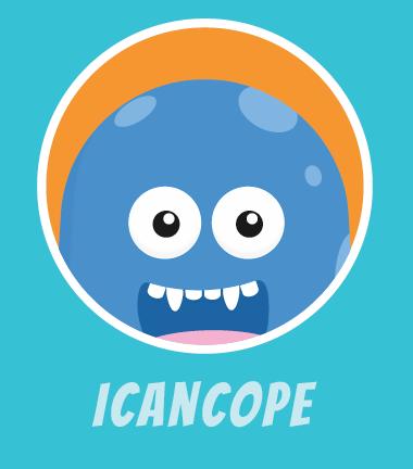 Photo of iCanCope logo character