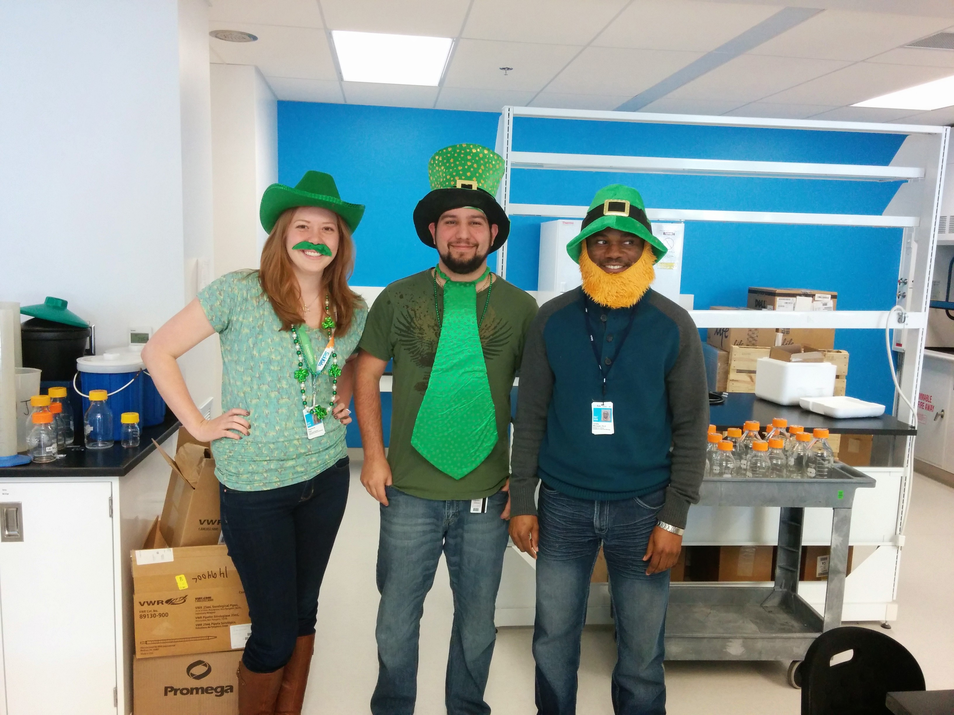 Group lab photo, st patrick's day