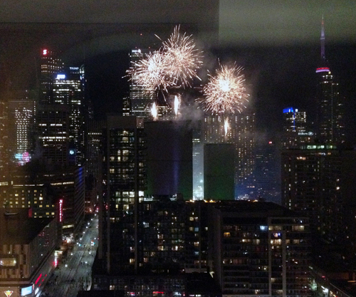Toronto fireworks viewed from our research building, PGCRL