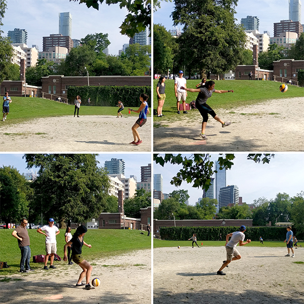 Kickball competition in the park