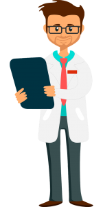 Image of an illustrated doctor holding an ipad