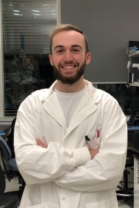 This is Riley Dow, an undergraduate student for the Palaniyar Lab in 2020-2021 in his lab coat