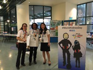 Photo of World Kidney Day Photobooth. Left to Right: Drs. Valerie Langlois, Lisa Robinson, and Mina Matsuda-Abedini.