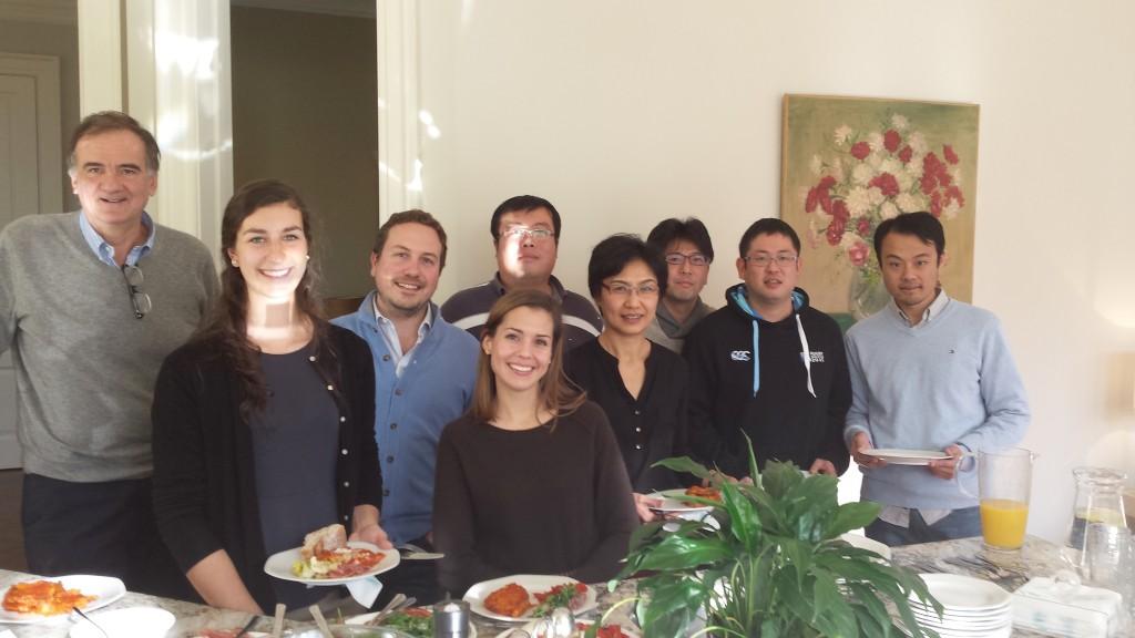 Photo of Agostino Pierro, Alison Hock, Augusto Zani, Kristen Bortolin, Bo Li, Carol Lee, Yuhki Koike, Hiromu Miyake and Qi Li at the lab retreat day at Dr. Pierro's home (December 2015)