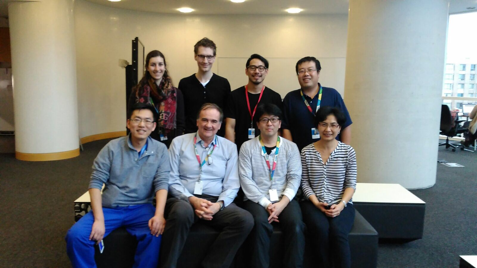 Photo of lab members (Alison Hock, Maarten Janssen Lok, Shogo Seo, Bo Li, Yong Chen, Agostino Pierro, Yuhki Koike, Carol Lee)
