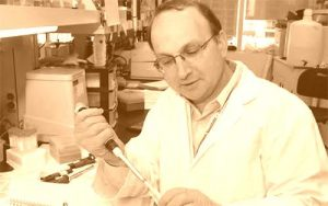 Dr. Norman Rosenblum working in the lab in 2005