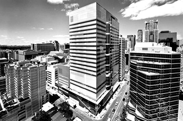 A building seen in black and white