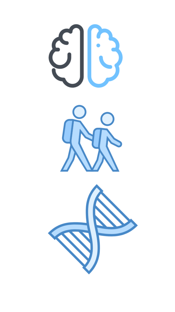 Decorative icons of a brain, DNA strand and children walking